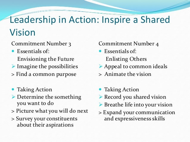 inspiring a shared vision Inspire a shared vision inspire a shared vision is one of the five practices for exemplary leaders from the book, the student.