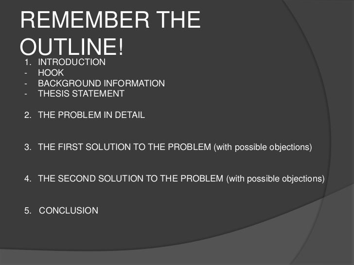 thesis statement for problem solution essay What is a problem solution essay this kind of essay will be like other essays that have an introduction with a thesis statement.