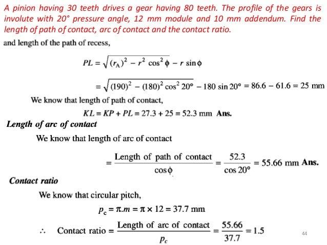 Spur gear contact ratio calculator