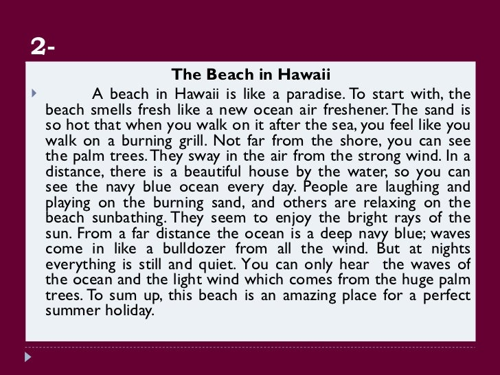 Descriptive beach essay