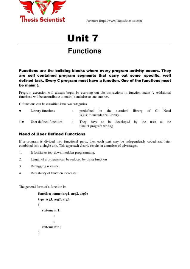 C functions list