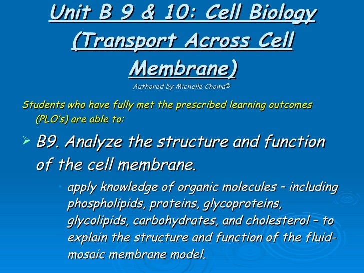 Unit B 9 & 10: Cell Biology (Transport Across Cell Membrane) Authored by Michelle Choma © <ul><li>Students who have fully ...