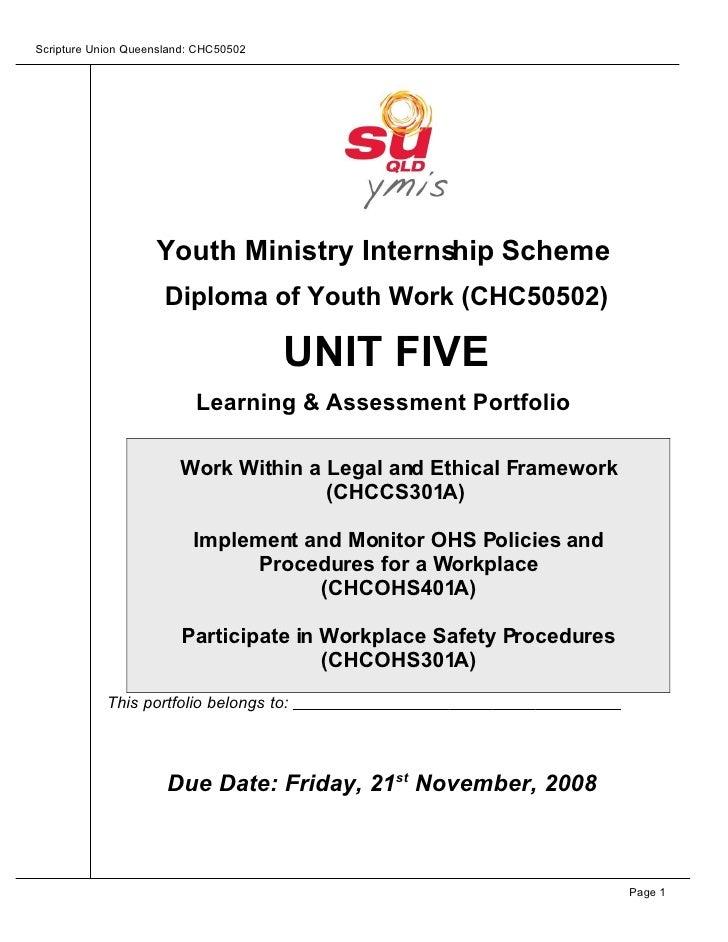 Scripture Union Queensland: CHC50502                         Youth Ministry Internship Scheme                       Diplom...