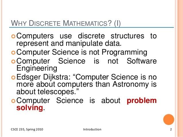 discrete structure I have mathematics/dp/0124208509 which seems to be what they're asking for chapter 1 says this is a book about structures always, since our interest is in digital computation, our structures will be discrete i supposed you could.