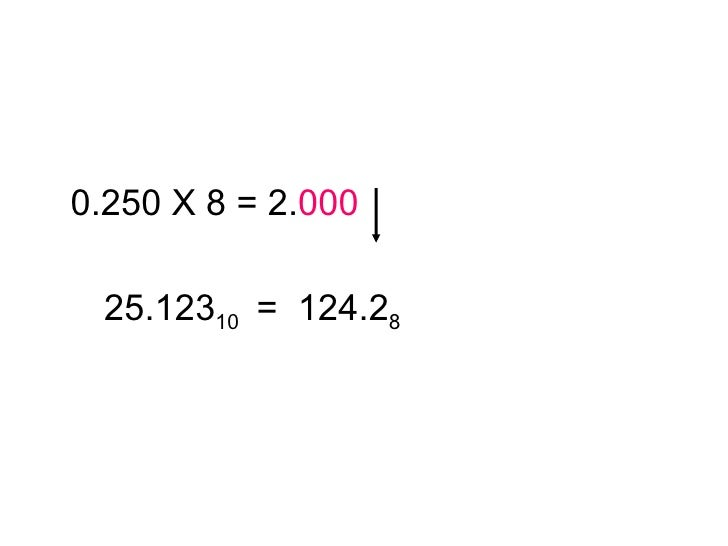 <ul><li>0.250 X 8 = 2. 000 </li></ul><ul><li>25.123 10  =  124.2 8 </li></ul>