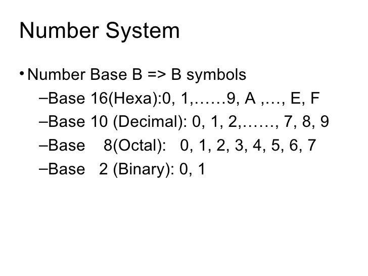 Number System <ul><li>Number Base B => B symbols  </li></ul><ul><ul><li>Base 16(Hexa):0, 1,……9, A ,…, E, F </li></ul></ul>...