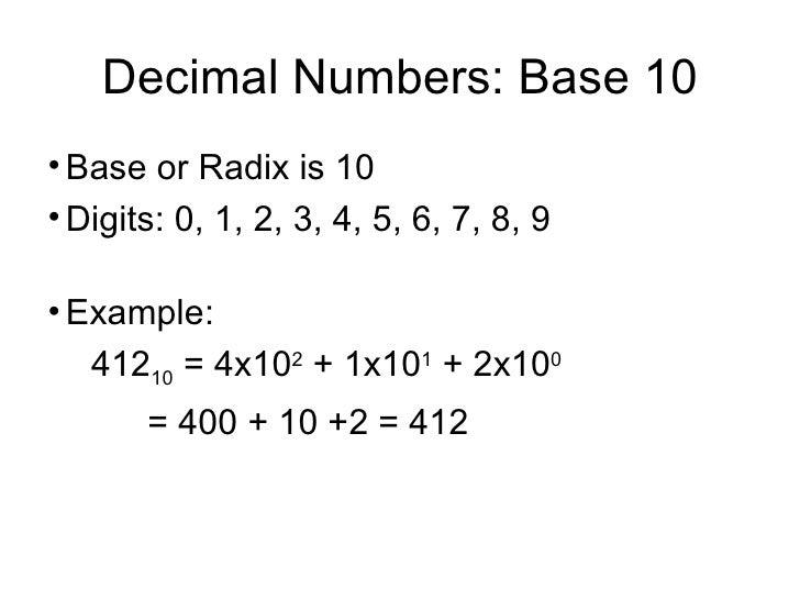 Decimal Numbers: Base 10 <ul><li>Base or Radix is 10 </li></ul><ul><li>Digits: 0, 1, 2, 3, 4, 5, 6, 7, 8, 9 </li></ul><ul>...