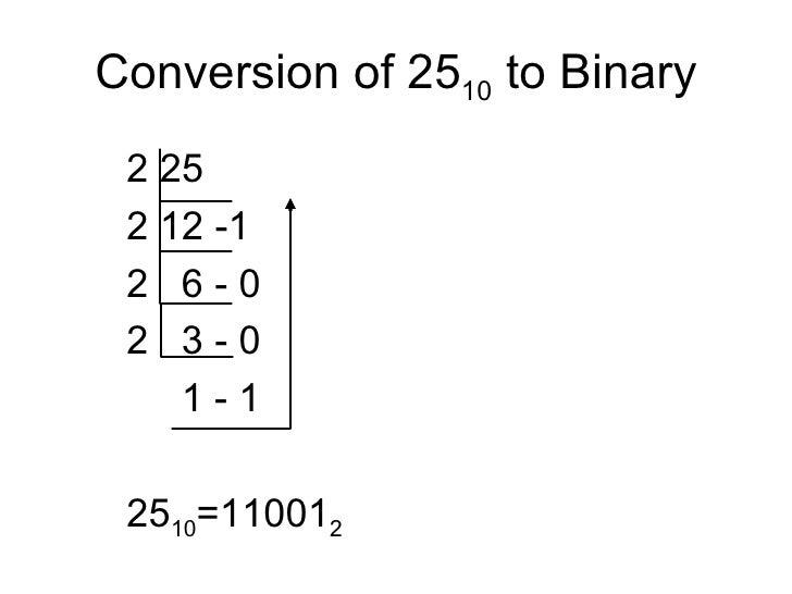 Conversion of 25 10  to Binary <ul><ul><ul><li>2 25 </li></ul></ul></ul><ul><ul><ul><li>2 12 -1 </li></ul></ul></ul><ul><u...