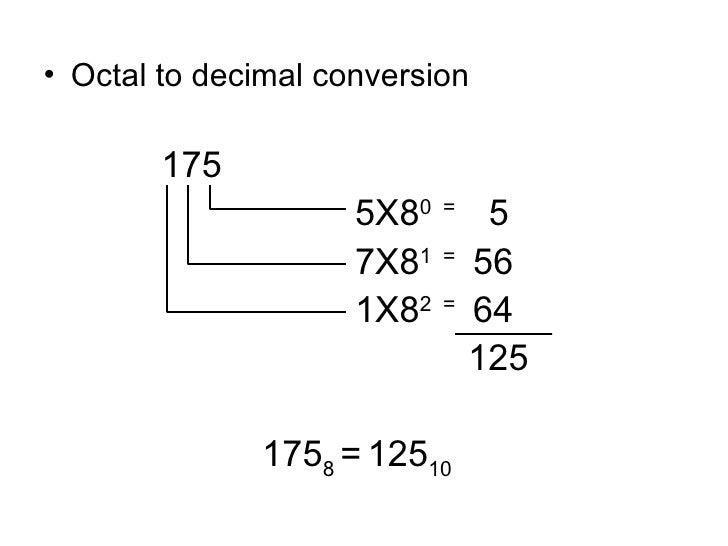 <ul><li>Octal to decimal conversion </li></ul><ul><li>  175 </li></ul><ul><li>  5X8 0  =  5 </li></ul><ul><li>  7X8 1  =  ...