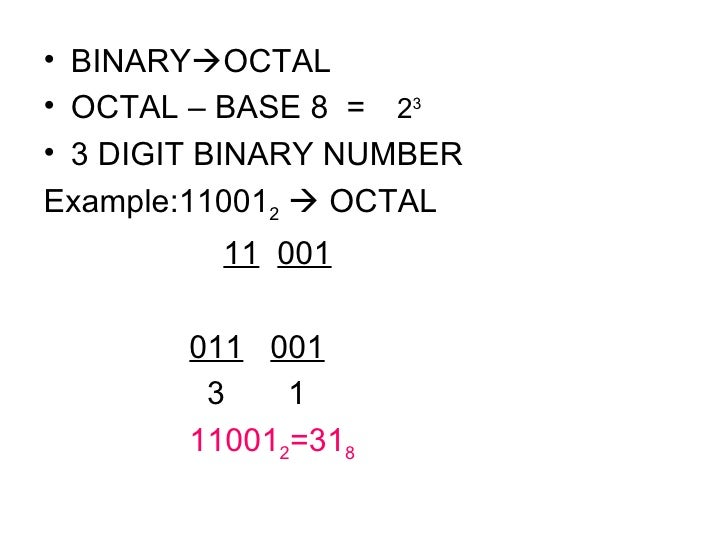 <ul><li>BINARY  OCTAL </li></ul><ul><li>OCTAL – BASE 8  =   2 3  </li></ul><ul><li>3 DIGIT BINARY NUMBER </li></ul><ul><l...