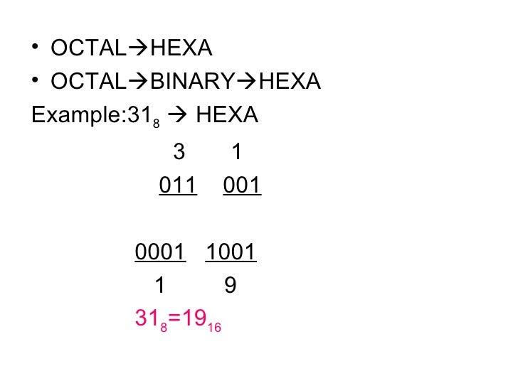 <ul><li>OCTAL  HEXA </li></ul><ul><li>OCTAL  BINARY  HEXA </li></ul><ul><li>Example:31 8     HEXA </li></ul><ul><li>  ...