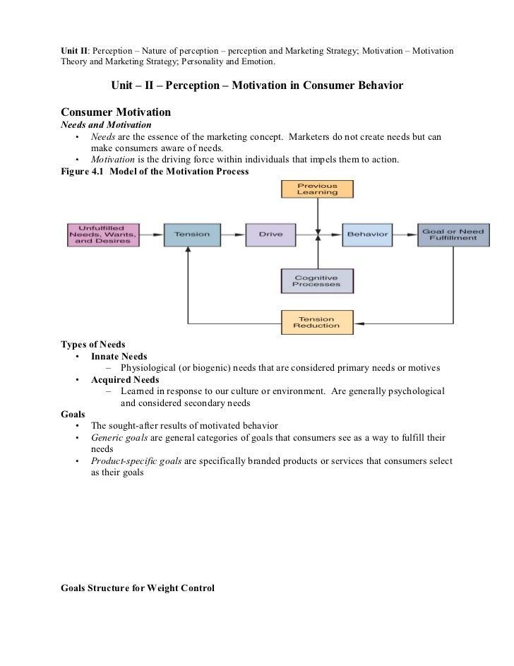Unit II: Perception – Nature of perception – perception and Marketing Strategy; Motivation – MotivationTheory and Marketin...