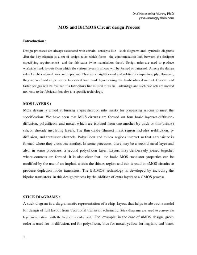 Dr.Y.Narasimha Murthy Ph.D yayavaram@yahoo.com  MOS and BiCMOS Circuit design Process Introduction : Design processes are ...