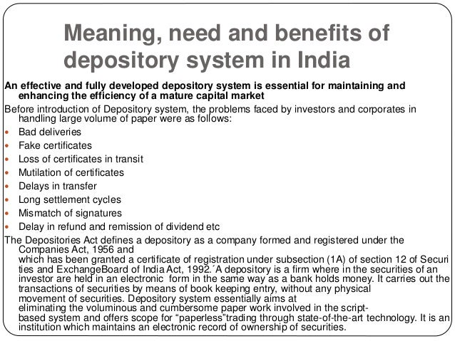 depository system meaning