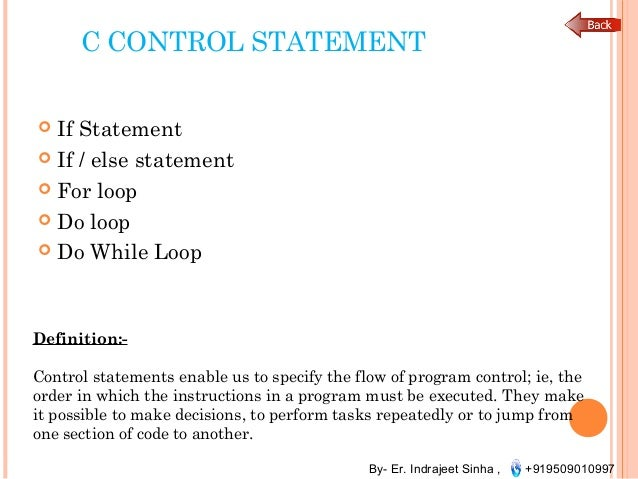 control statements, array, pointer, structuresstatements in a function block; 6 by er indrajeet sinha , 919509010997 c control