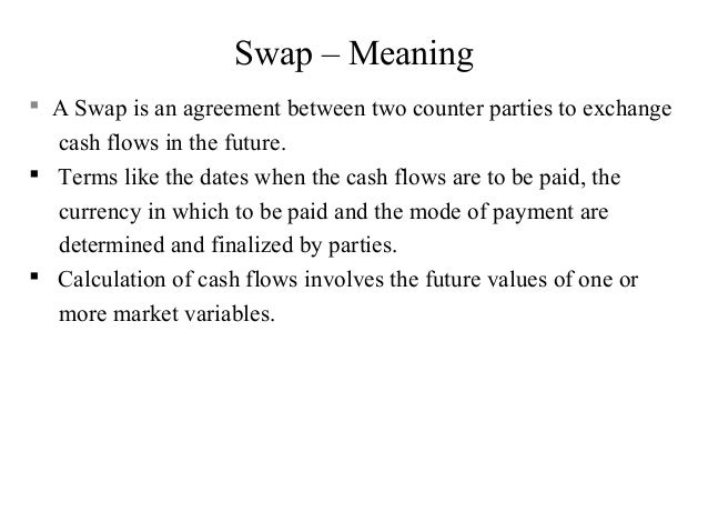 Swap – Meaning  A Swap is an agreement between two counter parties to exchange cash flows in the future.  Terms like the...