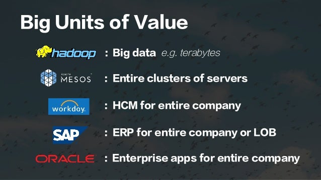 Big Units of Value : Big data e.g. terabytes : Entire clusters of servers : HCM for entire company : ERP for entire compan...