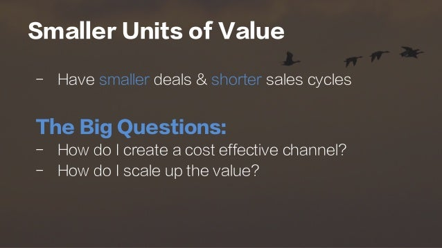 Smaller Units of Value -  Have smaller deals & shorter sales cycles The Big Questions: -  How do I create a cost effective...