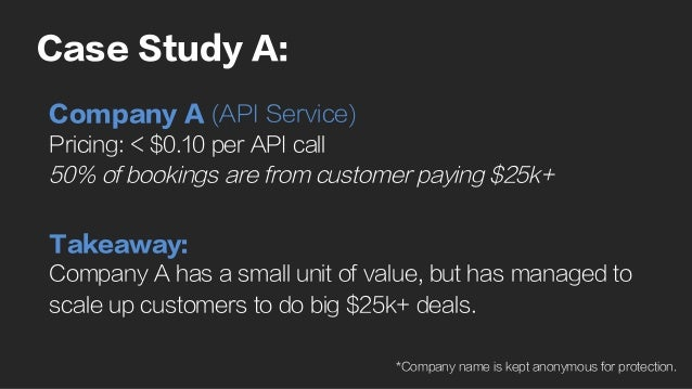 Case Study A: Company A (API Service) Pricing: < $0.10 per API call 50% of bookings are from customer paying $25k+ Takeawa...