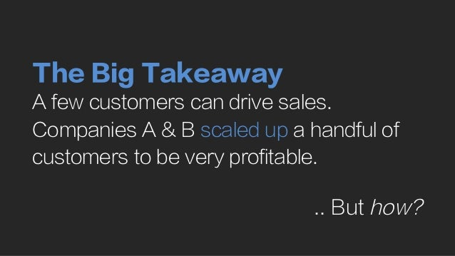 The Big Takeaway A few customers can drive sales. Companies A & B scaled up a handful of customers to be very profitable. ...