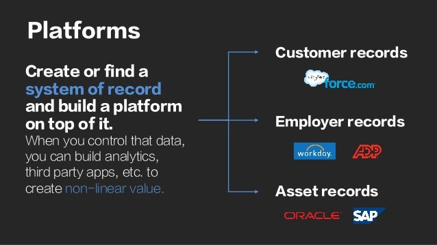 Platforms Create or find a system of record and build a platform on top of it. When you control that data, you can build a...