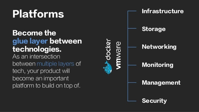 Platforms Become the glue layer between technologies. As an intersection between multiple layers of tech, your product wil...