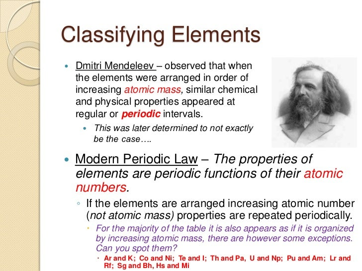 Unit the periodic table2 4 classifying elements dmitri mendeleev observed that when the elements were arranged in order of increasing urtaz Gallery