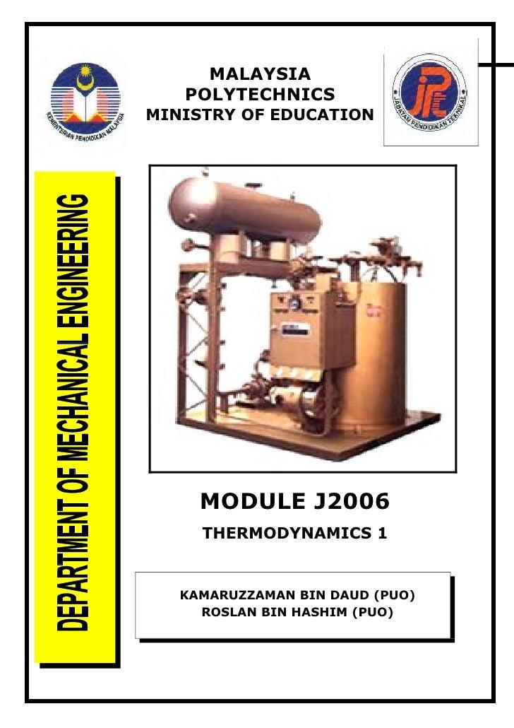 J2006 THERMODYNAMICS 1                            (1)                       MALAYSIA                     POLYTECHNICS     ...