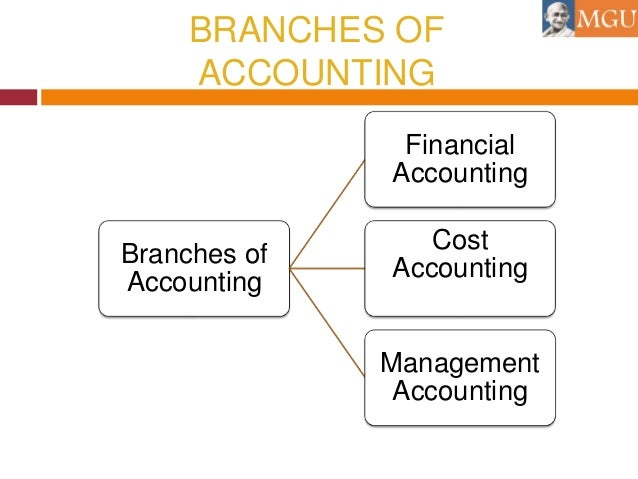branches of accounting Accounting can be divided into several areas of activity these often overlap and they are often closely intertwined but it's still useful to distinguish them, not least because accounting professionals tend to organize themselves around these various specialties.