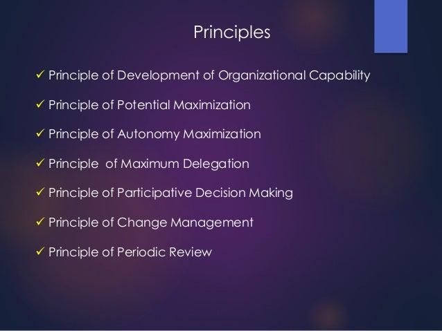  Principle of Development of Organizational Capability  Principle of Potential Maximization  Principle of Autonomy Maxi...