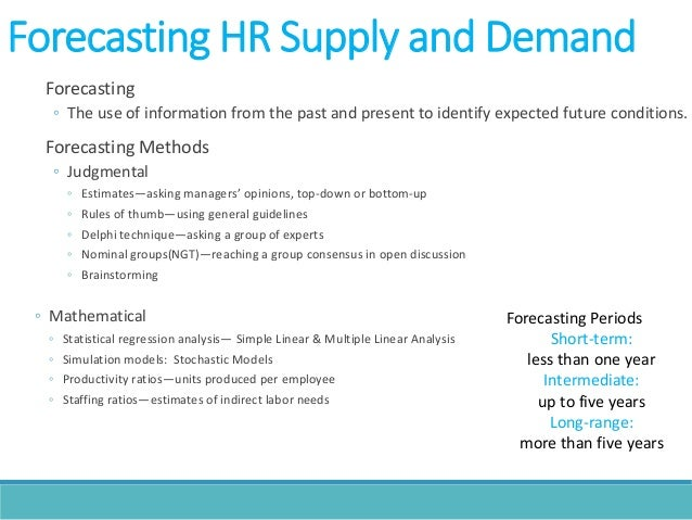 human resource forecasting Forecasting internal labour supply with result in higher effectiveness of human resource markov chain model as a tool of forecasting internal labour supply.