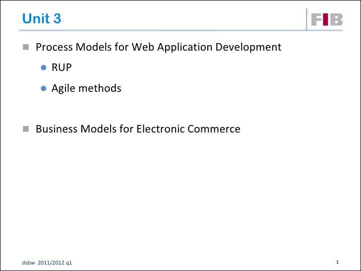 Unit 3 Process Models for Web Application Development         RUP         Agile methods Business Models for Electronic...