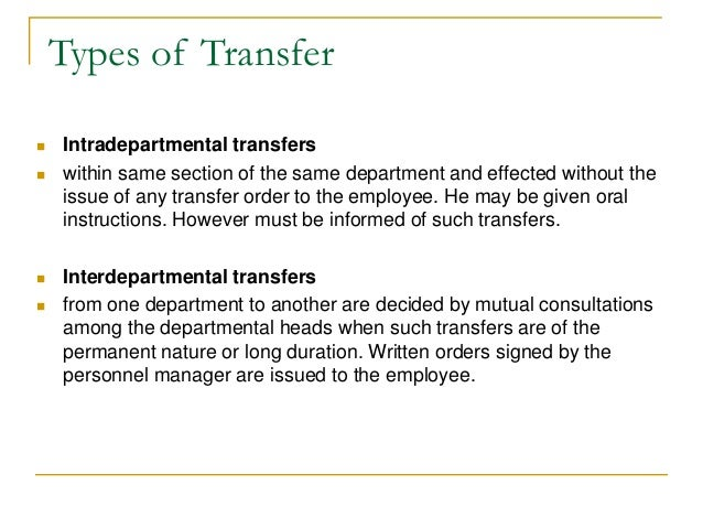 promotion  transfer and seperation