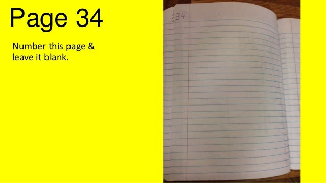 Page 34 Number this page & leave it blank.