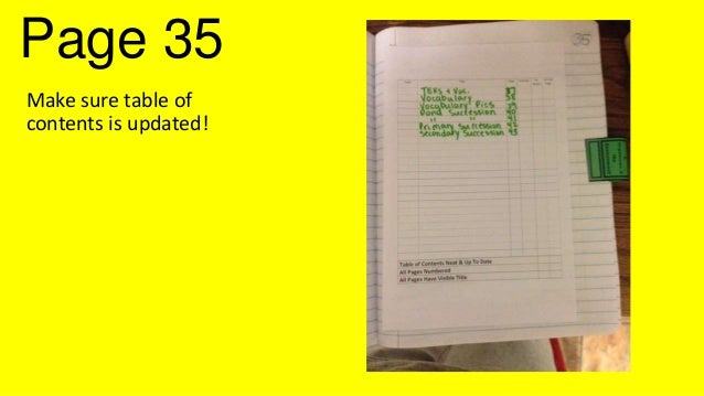 Page 35 Make sure table of contents is updated!