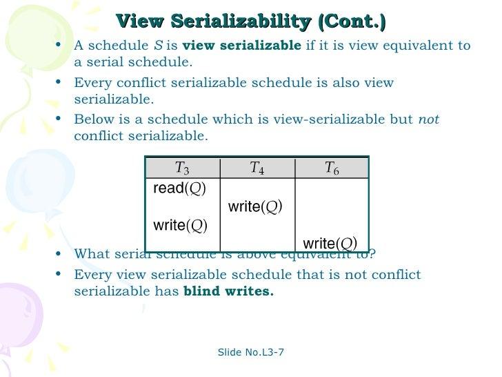 a serializable schedule is always serial number