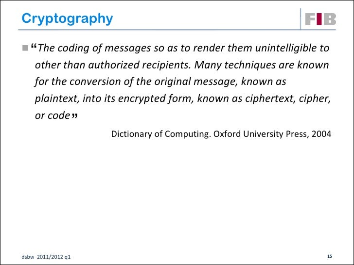 """Cryptography   """" The coding of messages so as to render them unintelligible to    other than authorized recipients. Many ..."""