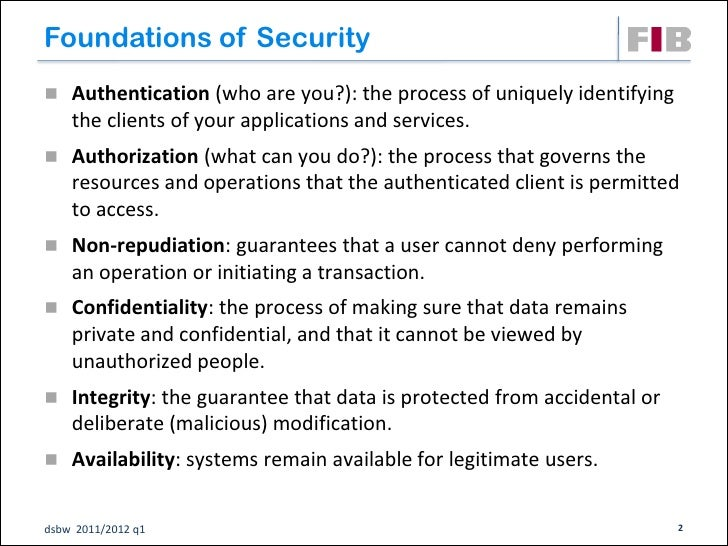 Foundations of Security Authentication (who are you?): the process of uniquely identifying    the clients of your applica...