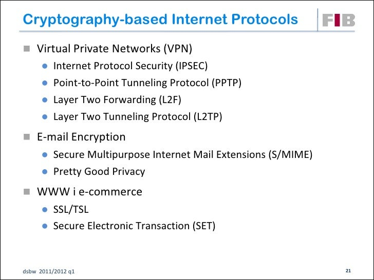 Cryptography-based Internet Protocols Virtual Private Networks (VPN)       Internet Protocol Security (IPSEC)       Poi...