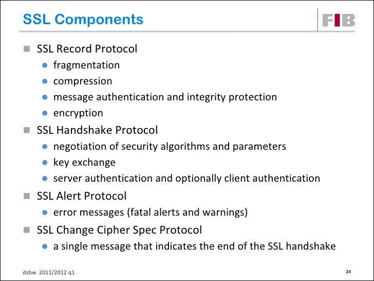 SSL Components SSL Record Protocol       fragmentation       compression       message authentication and integrity pr...