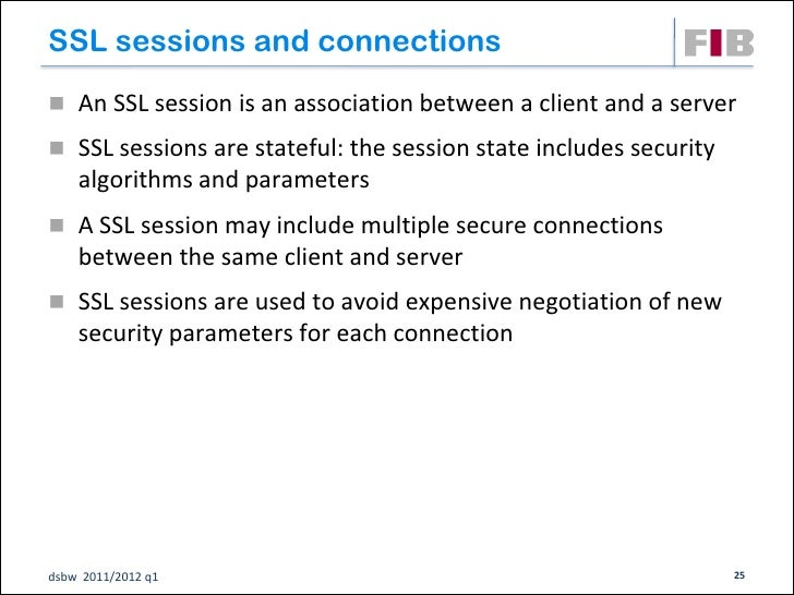 SSL sessions and connections An SSL session is an association between a client and a server SSL sessions are stateful: t...