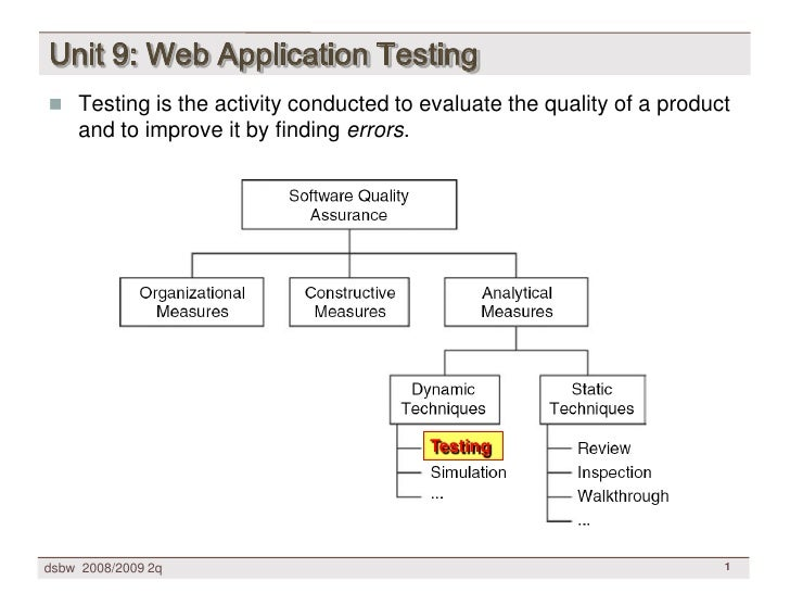 Unit 9: Web Application Testing  Testing is the activity conducted to evaluate the quality of a product     and to improv...