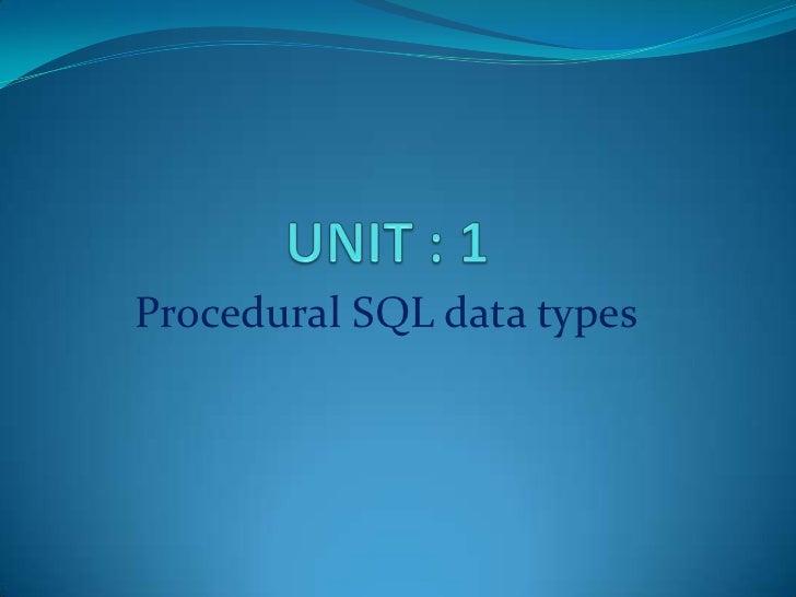 Procedural SQL data types