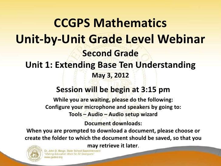 CCGPS MathematicsUnit-by-Unit Grade Level Webinar               Second Grade Unit 1: Extending Base Ten Understanding     ...
