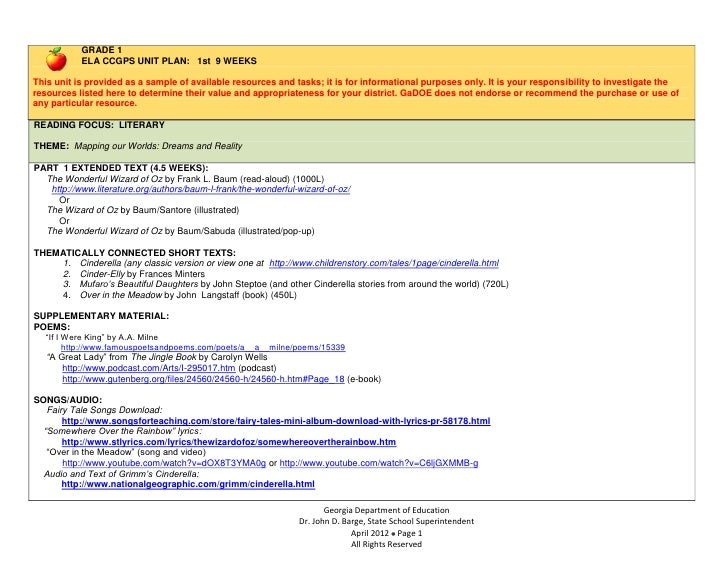 GRADE 1           ELA CCGPS UNIT PLAN: 1st 9 WEEKSThis unit is provided as a sample of available resources and tasks; it i...