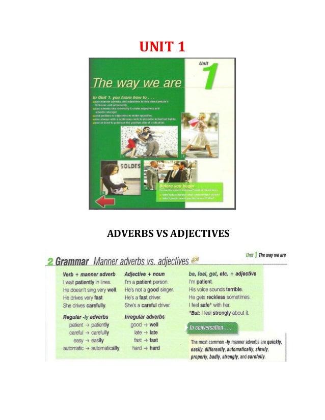 UNIT 1  ADVERBS VS ADJECTIVES