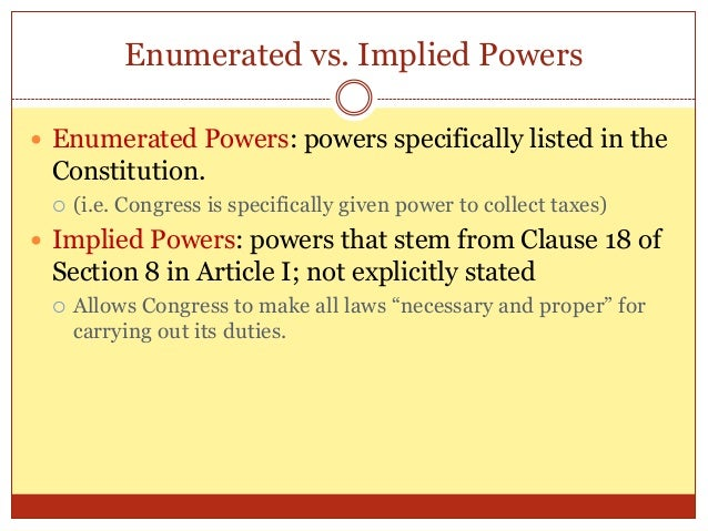 Article 1 Section 8 Enumerated Powers Home Hd