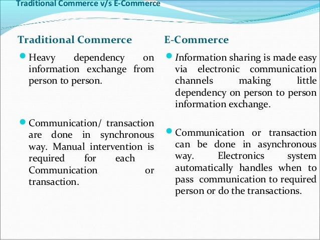 traditional business vs e business ppt