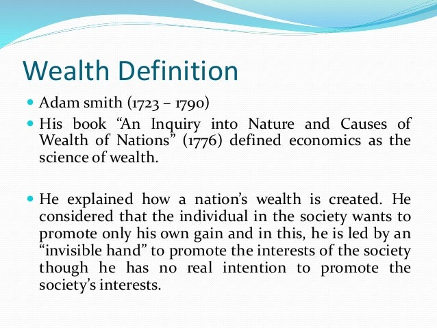 what is wealth in economics