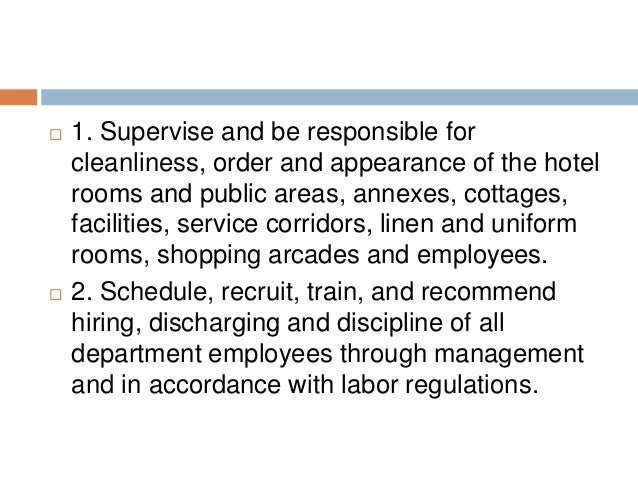 DUTIES OF EXECUTIVE HOUSEKEEPER; 2.  Duties Of A Housekeeper